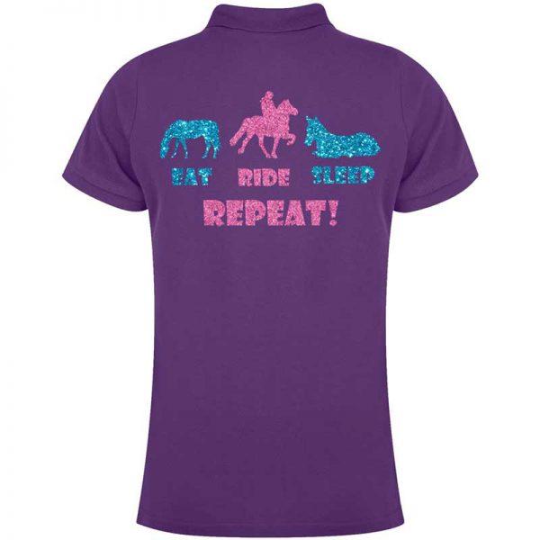 Eat, Ride, Sleep, Repeat Ladies Polo Shirt Colour