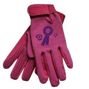 Equetech Junior Poneez Children's Riding Gloves Pink Rosette