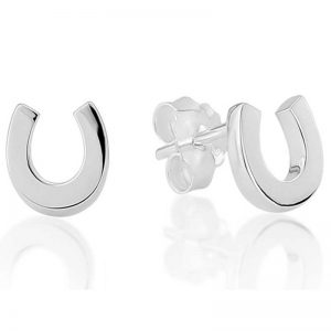 Gallop Collection Sterling Silver Horseshoe Earrings