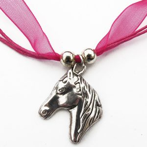 Children's Pink Ribbon Horse Head Necklace