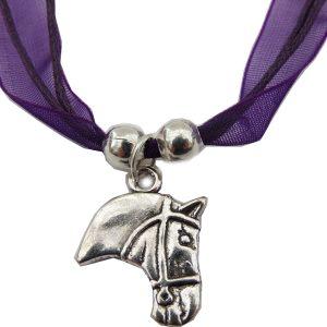 Children's Purple Ribbon Horse Head Necklace