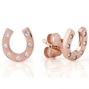 Gallop Collection Rose Gold Sparkly Hoof Stud Earrings