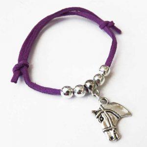 Children's Adjustable Suede Horse Head Bracelet - Purple