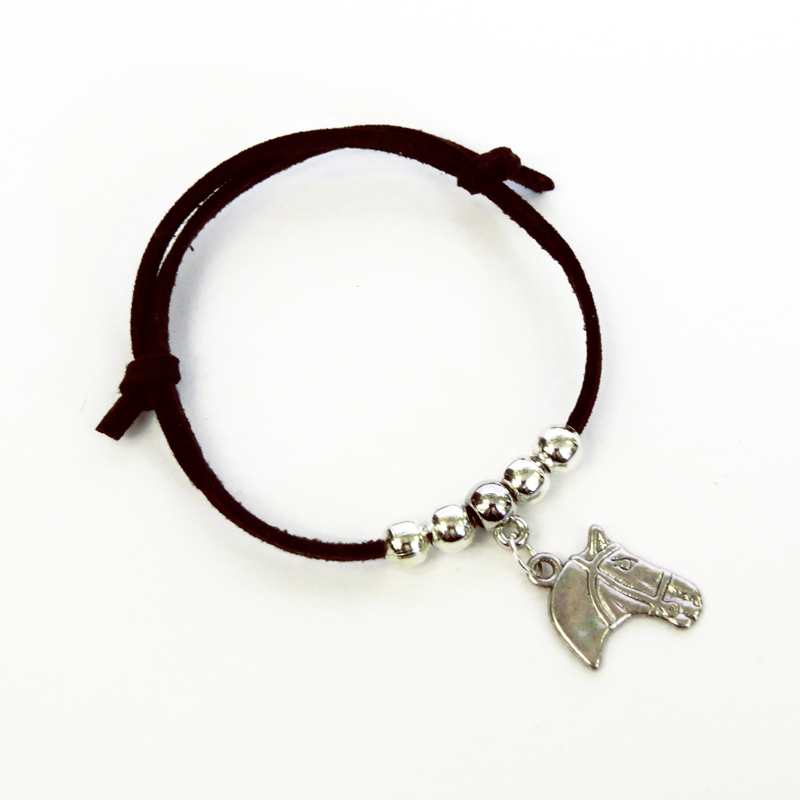 Children's Adjustable Suede Horse Head Bracelet - Brown