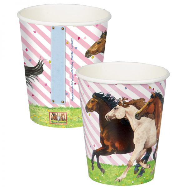 Horse Party Cups - Pink & White Stripe Design