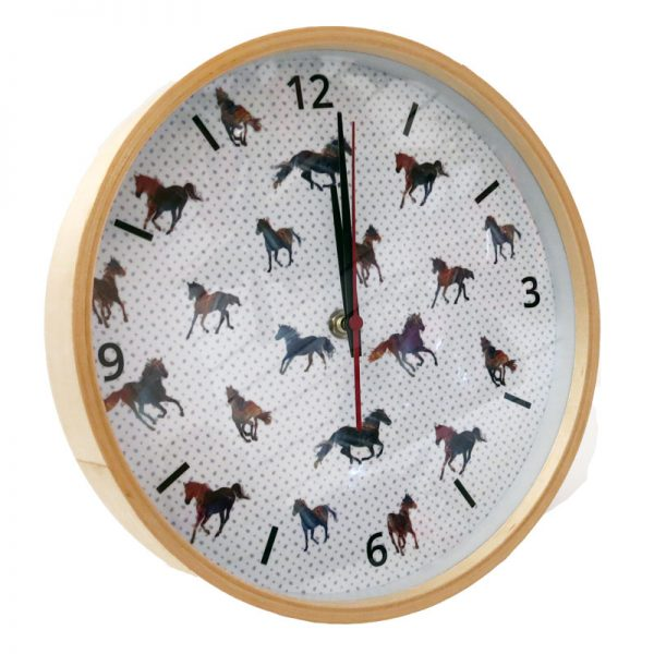 Majestic Horses Wooden Frame Clock