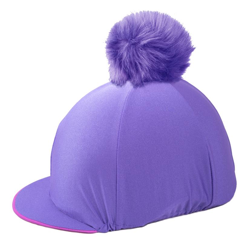 Purple Pom Pom Riding Hat Cover