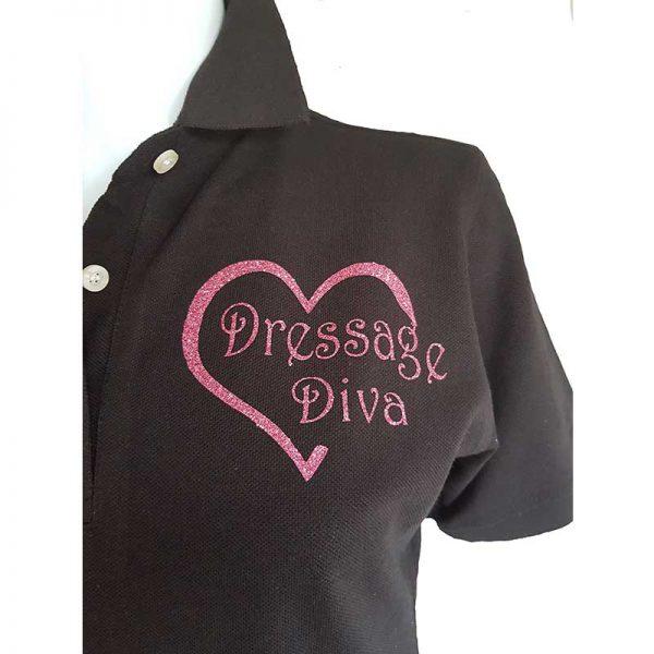 Dressage Diva Ladies Polo Shirt Detail