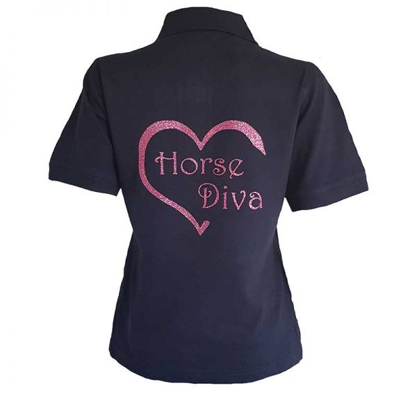 Horse Diva Ladies Polo Shirt Back