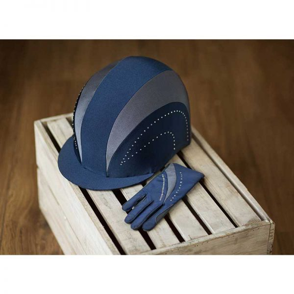 Show Pro Navy Riding Hat Cover Lifestyle