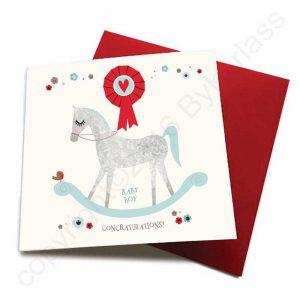 Rocking Horse Baby Boy Birth Card