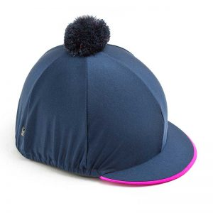 Navy Riding Hat Cover with Pink Trim