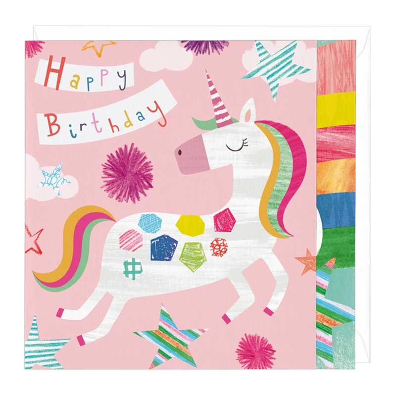 happy birthday unicorn greetings card  the horse diva